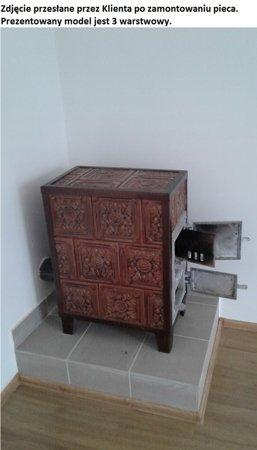 DOSTAWA GRATIS! 92238180 Piec grzewczy kaflowy 7,8kW Retro trzywarstwowy na drewno i węgiel (kolor: brąz)