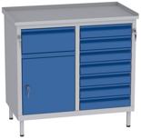 00150661 Szafka warsztatowa, 1 drzwi, 8 szuflad (wymiary: 850x900x505 mm)