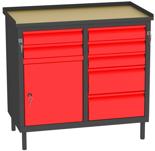 00150662 Szafka warsztatowa, 1 drzwi, 7 szuflad (wymiary: 850x900x505 mm)