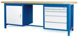 00853653 Stół warsztatowy, 1 drzwi, 5 szuflad (wymiary: 2100x900x740 mm)
