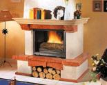 03356615 Obudowa z marmuru patynowanego z belką dębową Bergamo do wkładów żeliwnych pryzmatycznych