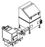 06653042 Automatyczny zestaw do spalania biomasy 1m3 230V 30kW, głowica: ceramiczna, z systemem usuwania popiołu (paliwo: trociny, wióry, zrębki)