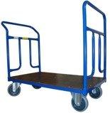 13340615 Wózek platformowy ręczny dwuburtowy 2BKB (koła: pełna guma 160 mm, nośność: 400 kg, wymiary: 1200x700 mm)