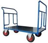 13340617 Wózek platformowy ręczny dwuburtowy 2BKB (koła: pneumatyczne 225 mm, nośność: 250 kg, wymiary: 1200x700 mm)