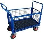 13340623 Wózek platformowy ręczny osiatkowany OS (koła: pneumatyczne 225 mm, nośność: 250 kg, wymiary: 1200x700x500 mm)