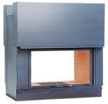 23130438 Wkład kominkowy 15kW AXIS DF 1000 H (fasada: mosiądz, dwustronne przeszklenie, drzwi podnoszone)