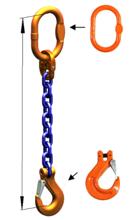 33948213 Zawiesie łańcuchowe jednocięgnowe klasy 10 miproSling HCS 19 (długość łańcucha: 1m, udźwig: 19 T, średnica łańcucha: 22 mm, wymiary ogniwa: 260x140 mm)