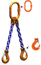 33948216 Zawiesie łańcuchowe dwucięgnowe klasy 10 miproSling HCS 20,0/14,0 (długość łańcucha: 1m, udźwig: 14-20 T, średnica łańcucha: 19 mm, wymiary ogniwa: 260x140 mm)