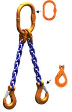33948218 Zawiesie łańcuchowe dwucięgnowe klasy 10 miproSling LCS 14,0/10,0 (długość łańcucha: 1m, udźwig: 10-14 T, średnica łańcucha: 16 mm, wymiary ogniwa: 200x110 mm)