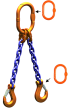 33948221 Zawiesie łańcuchowe dwucięgnowe klasy 10 miproSling AS 26,5/19,0 (długość łańcucha: 1m, udźwig: 19-26,5 T, średnica łańcucha: 22 mm, wymiary ogniwa: 340x180 mm)