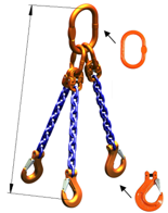 33948224 Zawiesie łańcuchowe trzycięgnowe klasy 10 miproSling HCS 30,0/21,2 (długość łańcucha: 1m, udźwig: 21,2-30 T, średnica łańcucha: 19 mm, wymiary ogniwa: 350x190 mm)