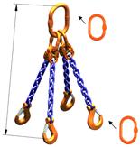 33948238 Zawiesie łańcuchowe czterocięgnowe klasy 10 miproSling AS 14,0/10,0 (długość łańcucha: 1m, udźwig: 10-14 T, średnica łańcucha: 13 mm, wymiary ogniwa: 200x110 mm)