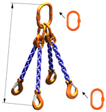 33948240 Zawiesie łańcuchowe czterocięgnowe klasy 10 miproSling AS 30,0/21,2 (długość łańcucha: 1m, udźwig: 21,2-30 T, średnica łańcucha: 19 mm, wymiary ogniwa: 350x190 mm)