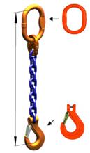33948243 Zawiesie łańcuchowe jednocięgnowe klasy 10 miproSling KHSW 19 (długość łańcucha: 1m, udźwig: 19 T, średnica łańcucha: 22 mm, wymiary ogniwa: 260x140 mm)