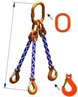 33948268 Zawiesie łańcuchowe trzycięgnowe klasy 10 miproSling KHSW 40,0/28,0 (długość łańcucha: 1m, udźwig: 28-40 T, średnica łańcucha: 22 mm, wymiary ogniwa: 350x190 mm)