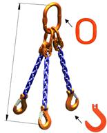 33948280 Zawiesie łańcuchowe trzycięgnowe klasy 10 miproSling KFW 30,0/21,2 (długość łańcucha: 1m, udźwig: 21,2-30 T, średnica łańcucha: 19 mm, wymiary ogniwa: 350x190 mm)