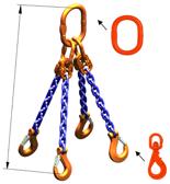 33948311 Zawiesie łańcuchowe czterocięgnowe klasy 10 miproSling WLHW 8,0/6,0 (długość łańcucha: 1m, udźwig: 6-8 T, średnica łańcucha: 10 mm, wymiary ogniwa: 180x100 mm)