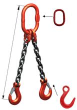 33948318 Zawiesie łańcuchowe dwucięgnowe klasy 8 miproSling LC 11,2/8,0 (długość łańcucha: 1m, udźwig: 8-11,2 T, średnica łańcucha: 16 mm, wymiary ogniwa: 200x110 mm)