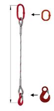 33948341 Zawiesie linowe jednocięgnowe miproSling HE 33,50 (długość liny: 1m, udźwig: 33,5 T, średnica liny: 56 mm, wymiary ogniwa: 350x190 mm)