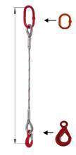33948348 Zawiesie linowe jednocięgnowe miproSling LE 11,00 (długość liny: 1m, udźwig: 11 T, średnica liny: 32 mm, wymiary ogniwa: 230x130 mm)