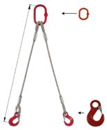 33948372 Zawiesie linowe dwucięgnowe miproSling HE 47,0/33,5 (długość liny: 1m, udźwig: 33,5-47 T, średnica liny: 56 mm, wymiary ogniwa: 400x200 mm)