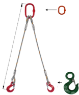 33948373 Zawiesie linowe dwucięgnowe miproSling C-WLL 11,8/8,4 (długość liny: 1m, udźwig: 8,4-11,8 T, średnica liny: 28 mm, wymiary ogniwa: 230x130 mm)