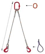 33948397 Zawiesie linowe dwucięgnowe miproSling F 40,0/29,0 (długość liny: 1m, udźwig: 29-40 T, średnica liny: 52 mm, wymiary ogniwa: 400x200 mm)