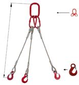33948415 Zawiesie linowe trzycięgnowe miproSling HE 71,0/50,0 (długość liny: 1m, udźwig: 50-71 T, średnica liny: 56 mm, wymiary ogniwa: 460x250 mm)