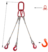 33948420 Zawiesie linowe trzycięgnowe miproSling FW 11,0/7,8 (długość liny: 1m, udźwig: 7,8-11 T, średnica liny: 22 mm, wymiary ogniwa: 230x130 mm)