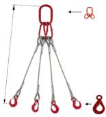 33948485 Zawiesie linowe czterocięgnowe miproSling LE 9,0/6,5 (długość liny: 1m, udźwig: 6,5-9 T, średnica liny: 20 mm, wymiary ogniwa: 190x110 mm)
