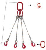 33948494 Zawiesie linowe czterocięgnowe miproSling T 15,0/11,0 (długość liny: 1m, udźwig: 11-15 T, średnica liny: 26 mm, wymiary ogniwa: 230x130 mm)