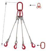 33948497 Zawiesie linowe czterocięgnowe miproSling T 29,0/21,0 (długość liny: 1m, udźwig: 21-29 T, średnica liny: 36 mm, wymiary ogniwa: 340x180 mm)