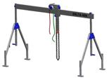 33960002 Wciągarka bramowa aluminiowa z wózkiem pchanym i wciągnikiem łańcuchowym miproCrane DELTA 400S (udźwig: 1000 kg, szerokość: 4100 mm, wysokość: 2120/3370 mm)