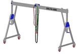 33960062 Wciągarka bramowa aluminiowa z możliwością przejazdu pod obciążeniem, z wózkiem pchanym i wciągnikiem łańcuchowym miproCrane DELTA 600H (udźwig: 1000 kg, szerokość: 4100 mm, wysokość: 2880/4180 mm)