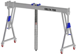 33960070 Wciągarka bramowa aluminiowa z możliwością przejazdu pod obciążeniem, z wózkiem pchanym i wciągnikiem łańcuchowym miproCrane DELTA 700M (udźwig: 1500 kg, szerokość: 5100 mm, wysokość: 2159/2550 mm)