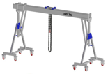 33960113 Wciągarka bramowa aluminiowa z możliwością przejazdu pod obciążeniem, z wózkiem pchanym i wciągnikiem łańcuchowym miproCrane DELTA 800H (udźwig: 3000 kg, szerokość: 4100 mm, wysokość: 3120/4270 mm)