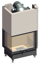 52232467 Wkład kominkowy 14,9kW Schmid Ekko W L 6751h z płaszczem wodnym, wysokość fasady: 510mm (lewa boczna szyba. drzwi podnoszone)