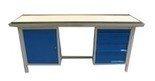 77156895 Stół warsztatowy dwustanowiskowy, 4 szuflady, 1 szafka (wymiary: 2000x750x900 mm)
