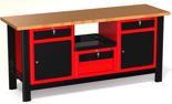 87853463 Stół warsztatowy z szafką, 4 szuflady, 2 drzwi - blat obity blachą (wymiary: 1960x890x600 mm)