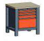 99551547 Stół jedynka, stelaż z blatem + szafka C, 4 szuflady (wymiary: 850-900x800x700 mm)