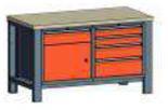99551552 Stół dwójka, stelaż z blatem, 1 drzwi, 9 szuflad (wymiary: 850-900x1400x700 mm)