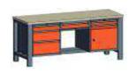99551567 Stół trójka, stelaż z blatem, 1 drzwi, 6 szuflad (wymiary: 850-900x2000x700 mm)