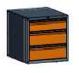 99551575 Szafka typ H, 3 szuflady 200+200+150 (wymiary: 625x600x690 mm)