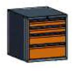 99551577 Szafka typ J, 4 szuflady 200+150+100+100 (wymiary: 625x600x690 mm)