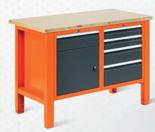 99551606 Stół warsztatowy, 5 szuflad, 1 drzwi (wymiary: 850-900x1245x620 mm)