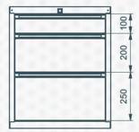99551626 Szafka typ D, 3 szuflady (wymiary: 625x520x550 mm)