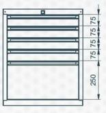 99551628 Szafka typ F, 5 szuflad (wymiary: 625x520x550 mm)