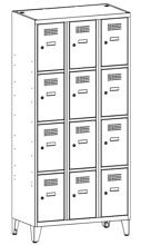 99552111 Szafka ze schowkami 0,8mm na nóżkach, 12 drzwi (wymiary: 1940x1200x500 mm)