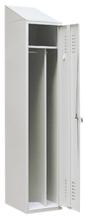 99552177 Szafka ubraniowa ze skośnym daszkiem 0,8mm, zamek ryglujący drzwi w 3 punktach, 1 drzwi (wymiary: 2000x300x490 mm)
