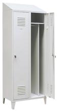 99552198 Szafka ubraniowa 0,8mm na nóżkach ze skośnym daszkiem, zamek na kłódkę, 2 drzwi (wymiary: 2140x800x490 mm)